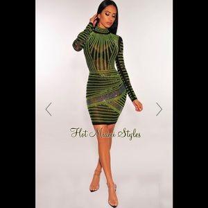 Black Mesh Neon Lime Iridescent Rhinestone Dress